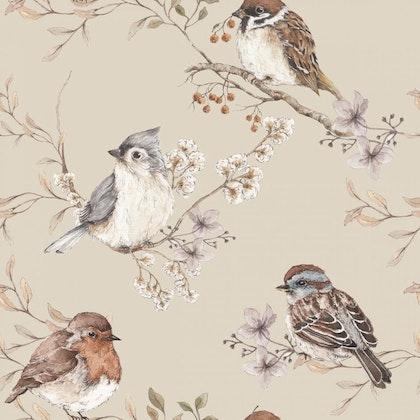 Tapet Birds Beige
