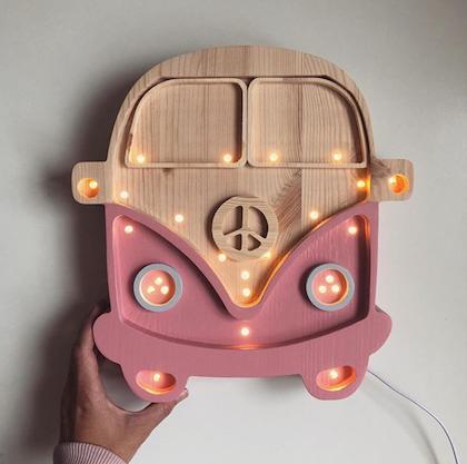 Nattlampa till barnrummet rosa buss lampa, Little Lights