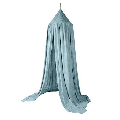 Sebra sänghimmel eukalyptus blå med ljusslinga