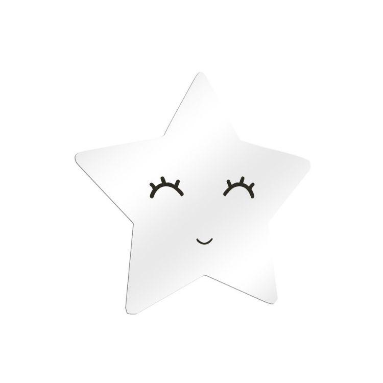 Spegel silver stjärna med ögonfransar