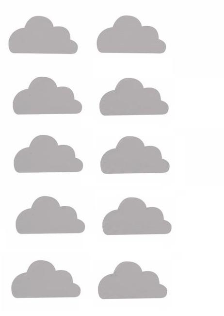 Väggklistermärken grå moln, set om 10 stycken