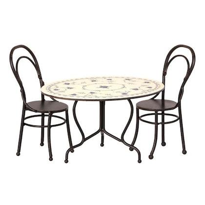 Maileg, mini bord & två stolar svart