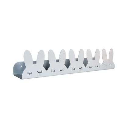 Hylla kaniner i metall till barnrummet, grå