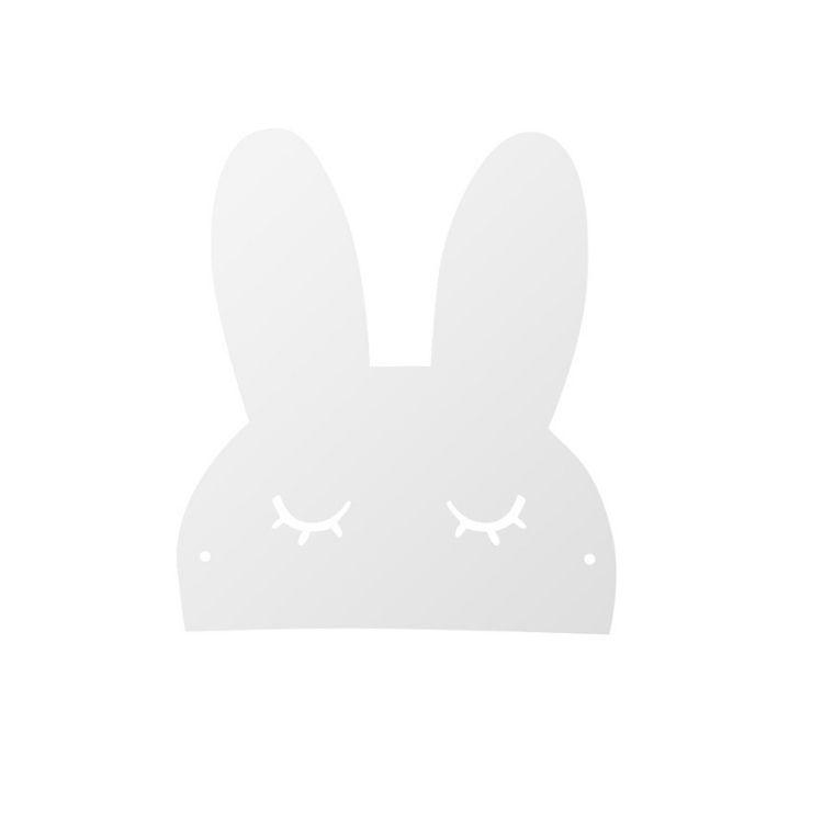 Hylla sovande kanin i metall till barnrummet, vit
