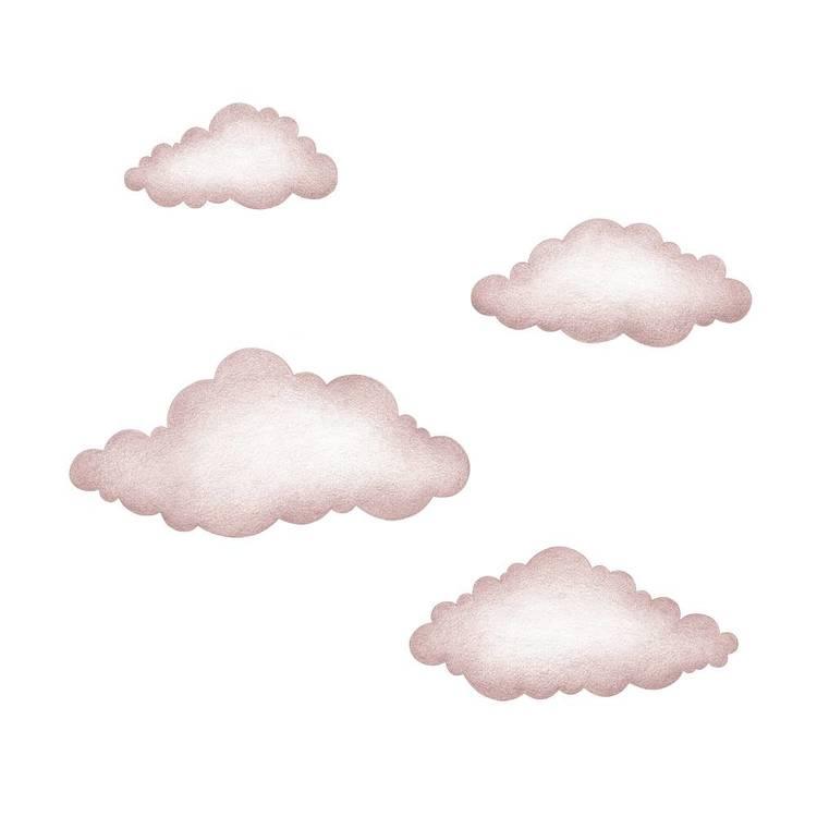 Gamelrosa moln väggklistermärken, Stickstay