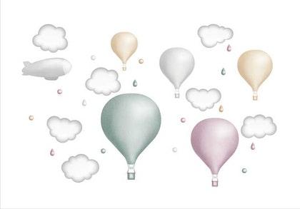 Mint luftballongset, väggklistermärken