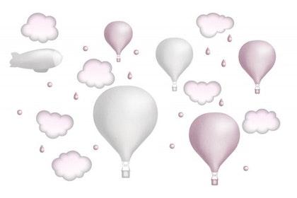 Ljusgrå luftballongset, väggklistermärken
