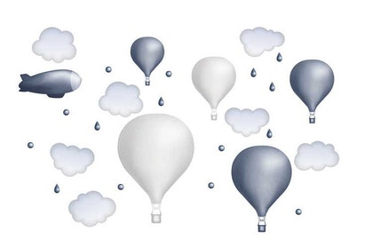 Mörkblå luftballongset, väggklistermärken