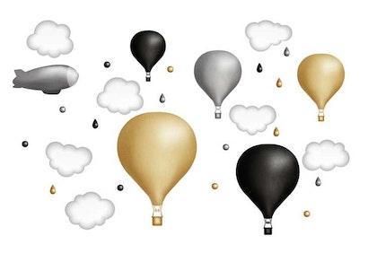 Senapsgul luftballongset, väggklistermärken