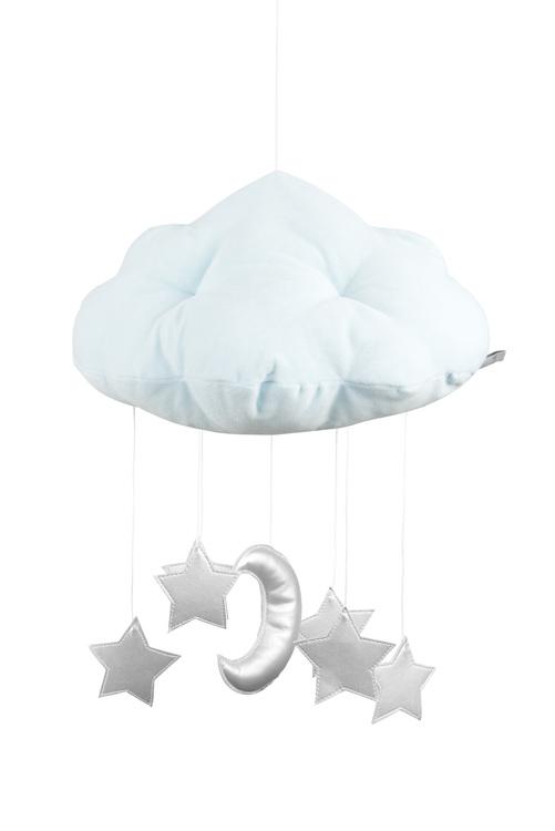 Mint sängmobil moln med silverstjärnor, Cotton & Sweets