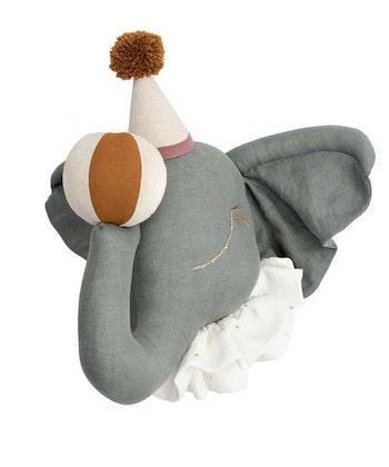 Väggdekoration grå cirkuselefant djurhuvud i linne