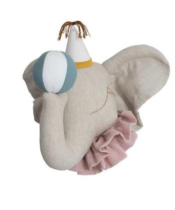 Väggdekoration natur rosa cirkuselefant djurhuvud i linne