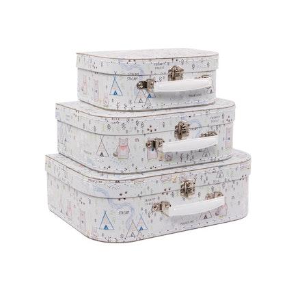 Sass & Belle, förvaringslådor koffert Skog, 3-pack