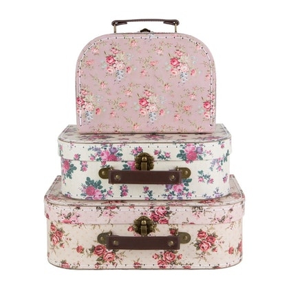 Sass & Belle, förvaringslådor koffert vintage rose, 3-pack