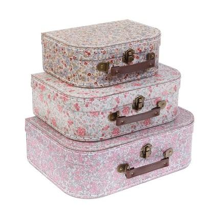 Sass & Belle, förvaringslådor koffert vintage floral, 3-pack