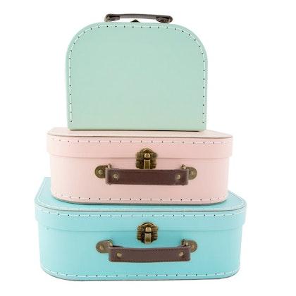 Sass&Belle, förvaringslådor koffert pastel retro, 3-pack