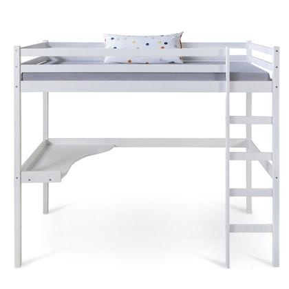 Vit loftsäng med skrivbord 90x200
