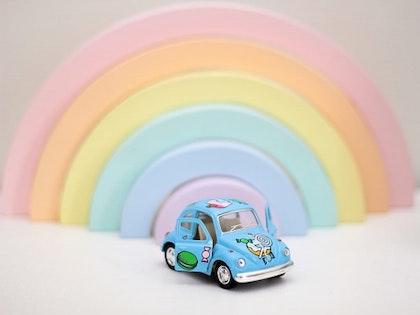 Leksaksbil stor Volkswagen Classic Beetle candy blå
