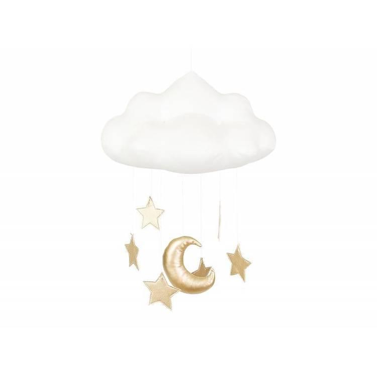 Sängmobil vit moln med guld stjärnor, Cotton&Sweets