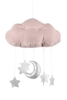 Puderrosa sängmobil moln med silverstjärnor, Cotton & Sweets