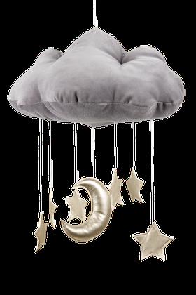 Grå sängmobil moln med guldstjärnor, Cotton & Sweets