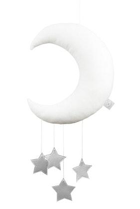 Sängmobil vit måne med silverstjärnor, Cotton & Sweets