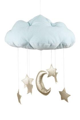 Mint sängmobil moln med guldstjärnor, Cotton&Sweets