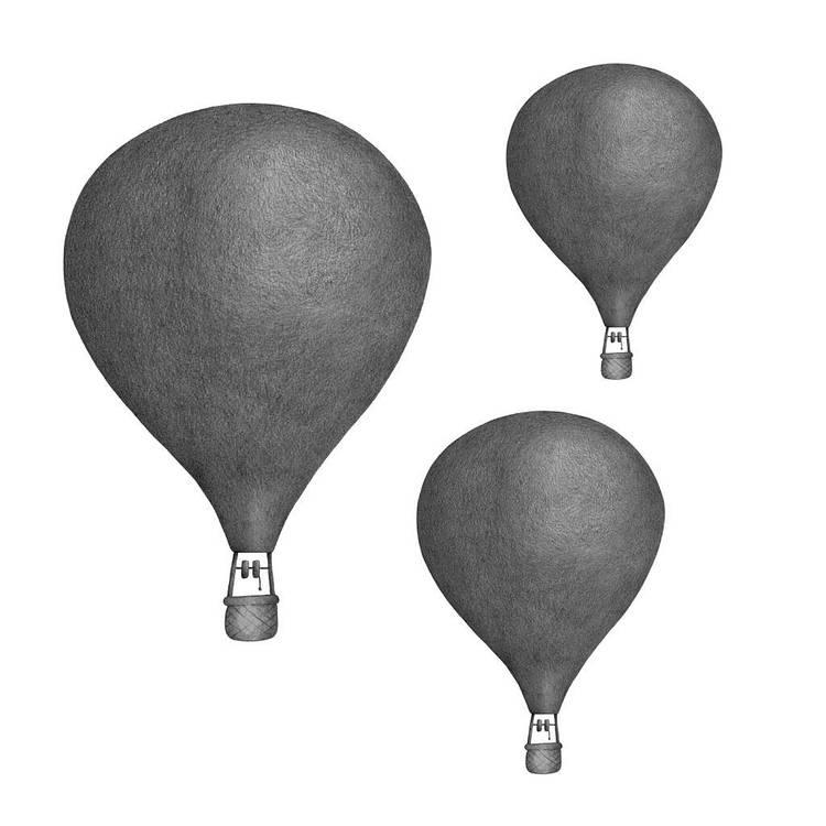 Mörkgrå Luftballonger väggklistermärken, Stickstay