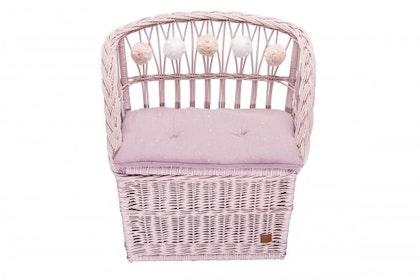 Lilu, förvaringsbänk i rotting till barnrummet, dirty pink