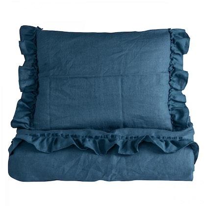Ng Baby Påslakan av linne med VOLANG, Dusty Blue