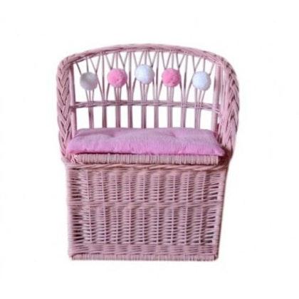 Lilu, förvaringsbänk i rotting till barnrummet, pink