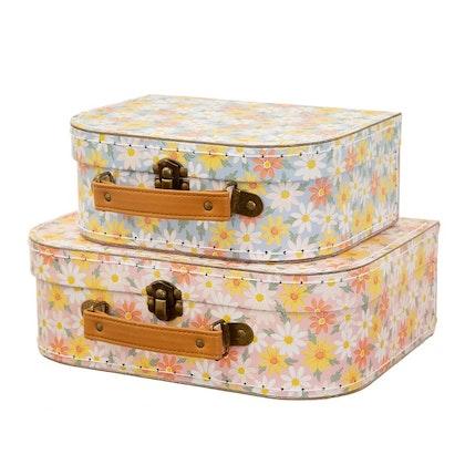 Sass & Belle, förvaringslådor koffert pink daisy, 2-set
