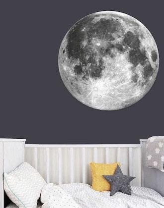 Grå stor måne klistermärke till barnrum