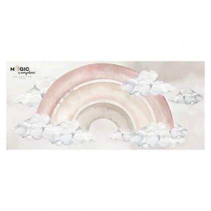 Dekornik, väggklistermärke stor rosa regnbåge