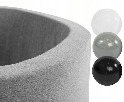 Misioo, ljusgrå bollhav smart, 150 bollar  (grey/black/white)