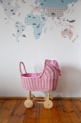 Lilu, stor dockvagn i rotting, pink