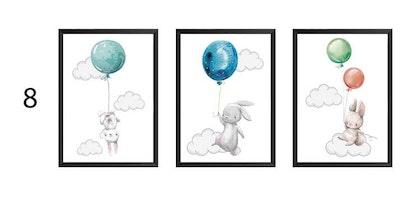 Posters till barnrum , 3-pack A3 , glada kaniner