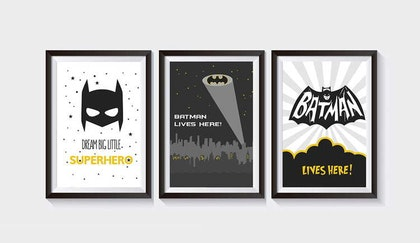 Posters till barnrum , 3-pack A3 , batman
