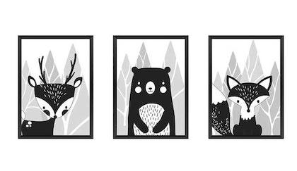 Posters till barnrum , 3-pack A3 , svart/vit skogens vänner