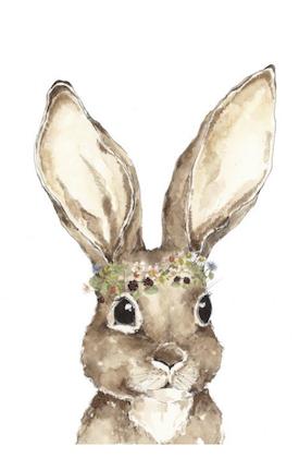 Poster magisk kanin med blommor, poster till barnrummet