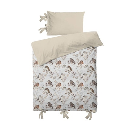 Dekornik, bäddset 100x135 , junior birds white grey