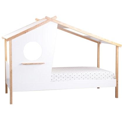 Vit/natur hussäng halvhus 90x200 med förvaring
