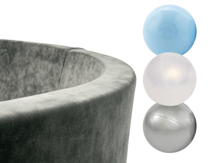 Misioo, grå sammet bollhav, 150 bollar  (blue/transparent/silver)