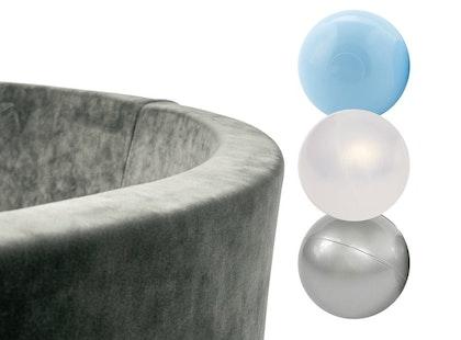 Misioo, grå sammet bollhav smart, 150 bollar  (blue/transparent/silver)