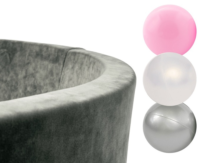 Misioo, grå sammet bollhav, 150 bollar  (pink/transparent/silver)