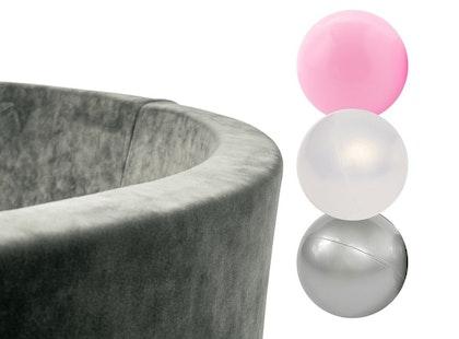 Misioo, grå sammet bollhav smart, 150 bollar  (pink/transparent/silver)