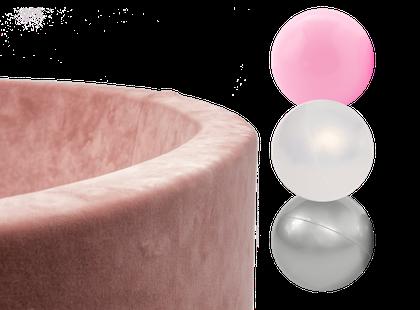 Misioo, rosa sammet bollhav smart, 150 bollar  (pink/pearl/silver)