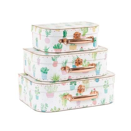 Sass & Belle, förvaringslådor koffert pastel cactus, 3-pack