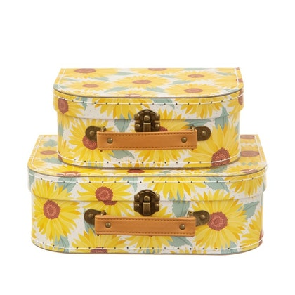 Sass & Belle, förvaringslådor koffert sunflower , 2-pack