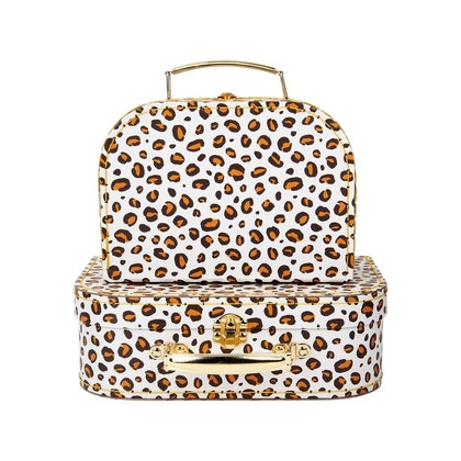 Sass & Belle, förvaringslådor koffert leopard love , 2-set